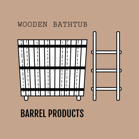Wooden bathtub. Flat icon of barrel products. Object for design, web