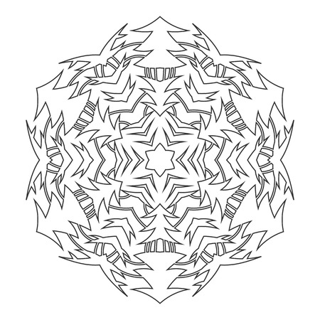 Black and white silhouette of a snowflake. Lace, round ornament and decor. Illustration for design