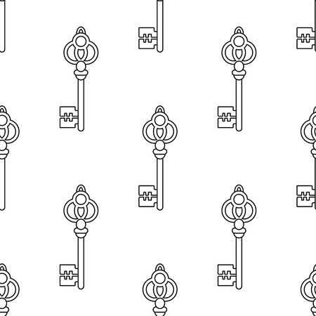 Black and white seamless pattern with vintage, old keys for coloring books