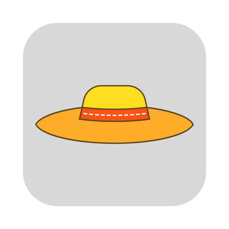 Sun hat, protective clothing. Flat icon, object of fashion accessory. Illustration Illustration