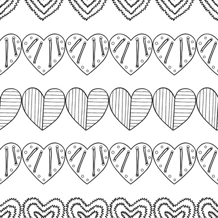 Black and white seamless pattern with decorative hearts for coloring book, page. Romantic ornament. Vector illustration Illustration