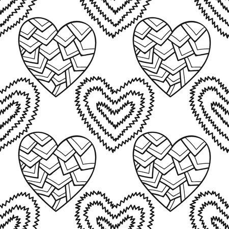 Decorative hearts. Black and white seamless illustration, pattern for coloring book illustration. Illustration