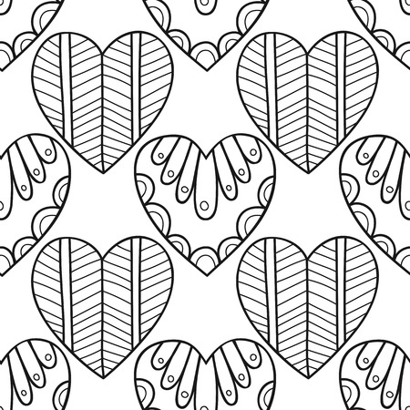 Decorative hearts. Black and white seamless illustration, pattern for coloring book