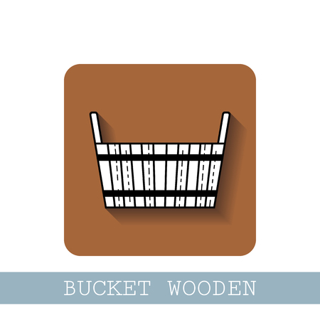 Bucket wooden. Flat icon, object of barrel products for design.