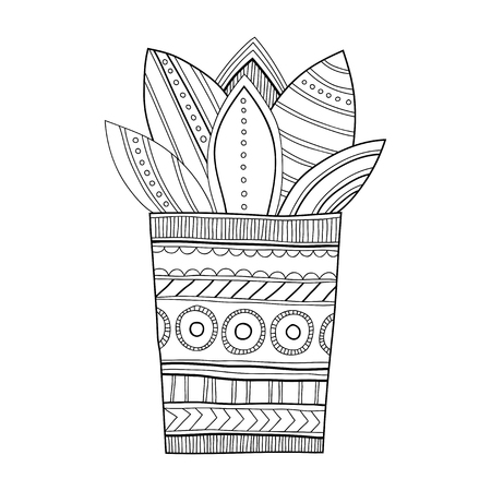 Cactus, succulent. Black and white illustration for coloring books and pages.