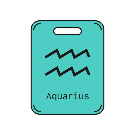 Aquarius. Sign of the zodiac. Flat symbol horoscope and predictions. Vector object for design Illustration