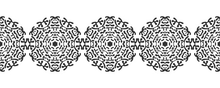 Black silhouette of snowflakes. Lace, round ornament and decorative border. Illustration for design Illustration