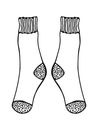 Doodle socks. Black and white illustration for coloring book and pages. Illustration