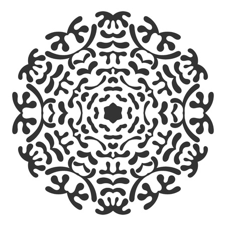 Black silhouette of a snowflake. Lace, round ornament and decor. Illustration for design
