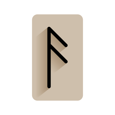 Ansuz. Runic alphabet and letters. Flat icon on white background for divination, prediction. Vector Illustration