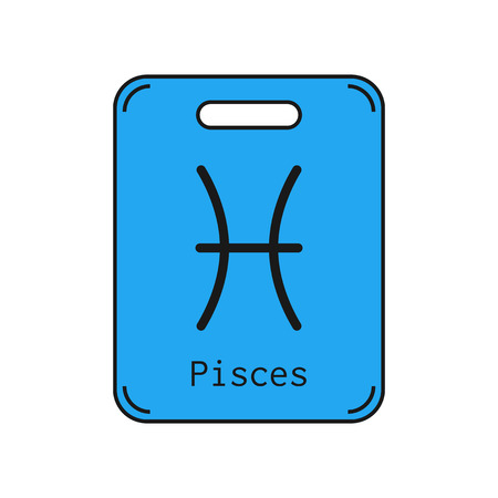 Pisces. Sign of the zodiac. Flat symbol horoscope and predictions. Vector object for design Illustration