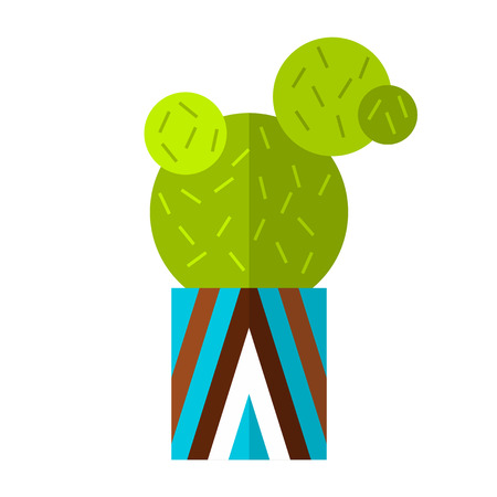 Cactus, succulent. Flat color icon, illustration of potted plant isolated on white background. Object for design Illustration
