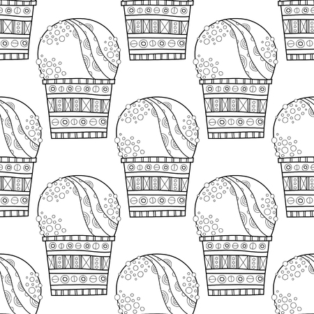 ice: Ice cream, dessert. Black and white illustration for coloring book, pages. Illustration