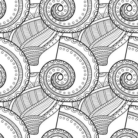 塗り絵のための装飾的な貝殻を持つ黒白いシームレスなパターン
