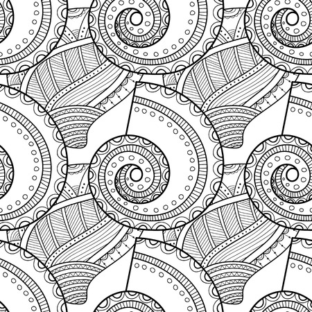 Black white seamless pattern with decorative sea shells for coloring book