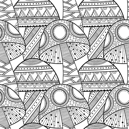 Mushrooms. Black and white illustration, seamless pattern for coloring book, pages. Vector