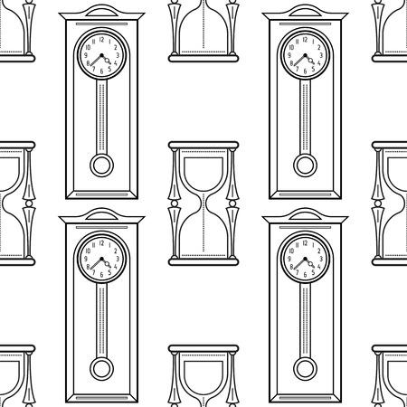 Reloj De Arena Y Relojes De Chimenea En Blanco Y Negro Patrón ...