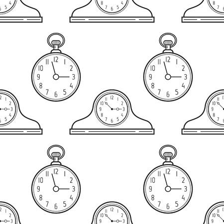 Mantel klokken en zakhorloge, zwart en wit naadloze patroon voor het kleuren van boeken, pagina's Stockfoto - 84989494