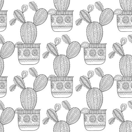 Ilustración En Blanco Y Negro De Cactus Ornamentales Y