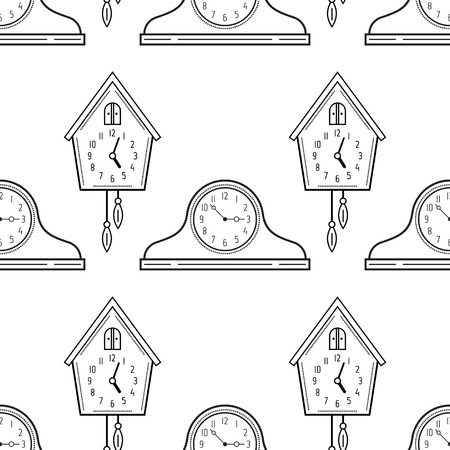 Mantel Clocks And Cuckoo Clock Black White Seamless Pattern For Coloring Books Pages