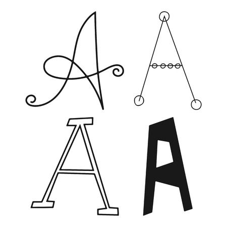 Decorative A letters of the alphabet. Lettering for design, scrapbooking, digital stamps. Vector illustration