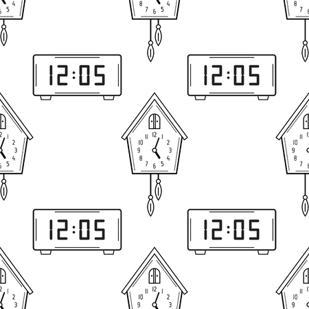 Electronic Watch And Cuckoo Clock Black White Seamless Pattern For Coloring Books Pages