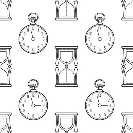 Reloj De Pie Y Despertador. Blanco Y Negro De Patrones Sin Fisuras ...