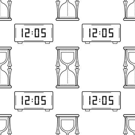 Reloj Electrónico Y Reloj De Bolsillo. Blanco Y Negro De Patrones ...