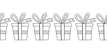 Coffrets cadeaux décoratifs Illustration noir et blanc pour cahier de coloriage, page. Vecteur