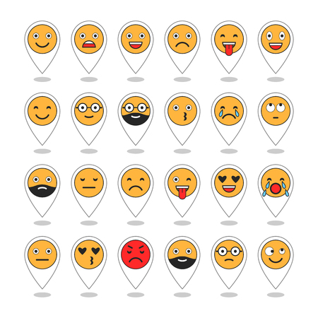 Colored flat icons of emoticons. Smile with a beard, different emotions