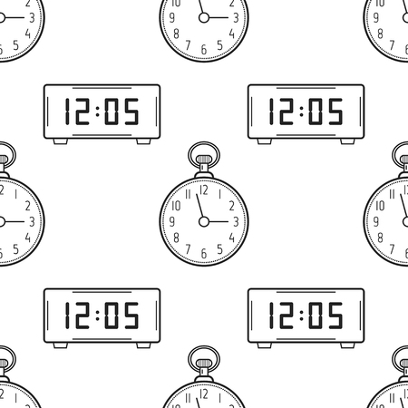 electronic background: Electronic watch and pocket watch. Black and white seamless pattern for coloring books, pages. Vector illustration.