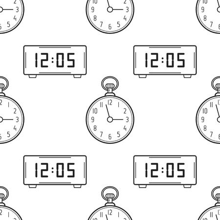 Reloj Electrónico Y Despertador. Blanco Y Negro De Patrones Sin ...