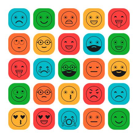 Iconos de colores planos de emoticones. Sonríe con barba, diferentes emociones, estados de ánimo.