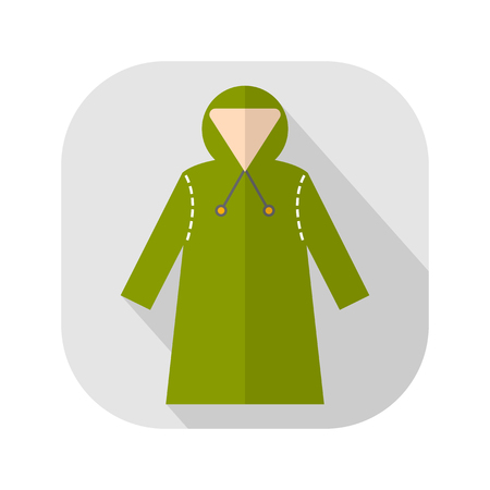 Rain cover, raincoat. Flat icon, object of clothes. Protective suits for work. Vector illustration