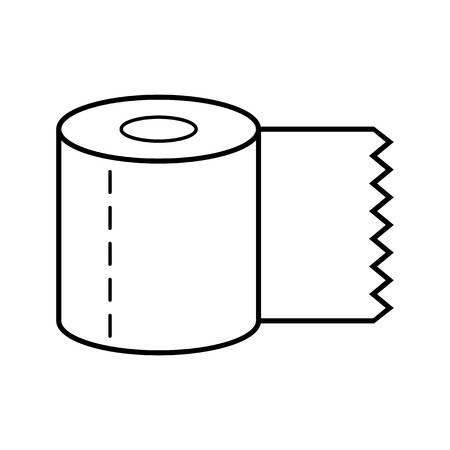 Toilet paper. Flat icon, object of hygiene. Vector Çizim