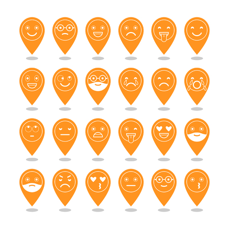 Flat icons of emoticons. Smile with a beard, different emotions