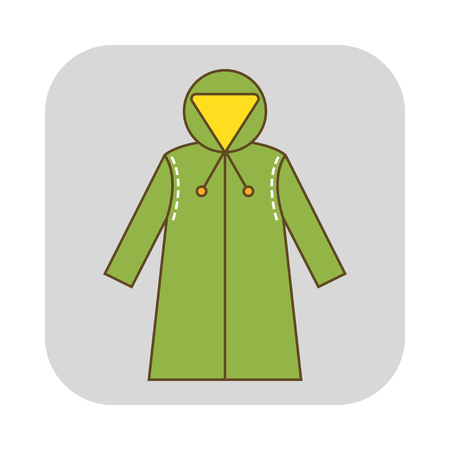 Rain cover, raincoat. Flat icon, object of clothes. Protective suits for work. Vector