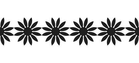 Zwart silhouet van bloemen. Decoratieve rand en decoratie voor scrapbooking. Illustratie op een witte achtergrond.