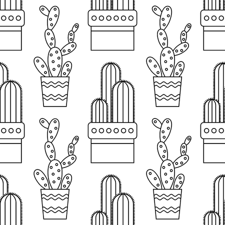 Black and white seamless pattern of cacti and succulents for coloring books, pages.