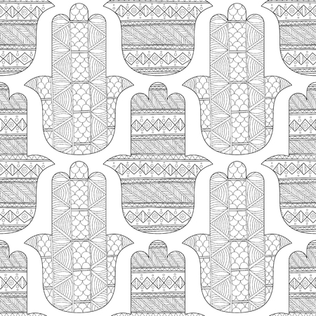 Hamsa hand. Black and white seamless pattern for coloring page. Decorative amulet for good luck and prosperity. Vector