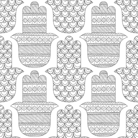 Black and white seamless pattern for coloring page. Decorative amulet for good luck and prosperity.