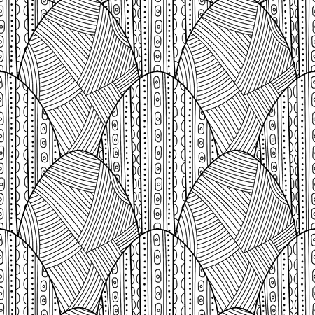 Easter eggs. Black and white seamless pattern for coloring books, pages. Vector