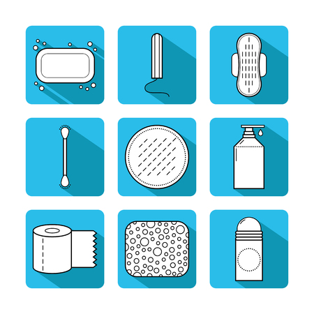 Feminine hygiene. Set of flat objects or illustrations.