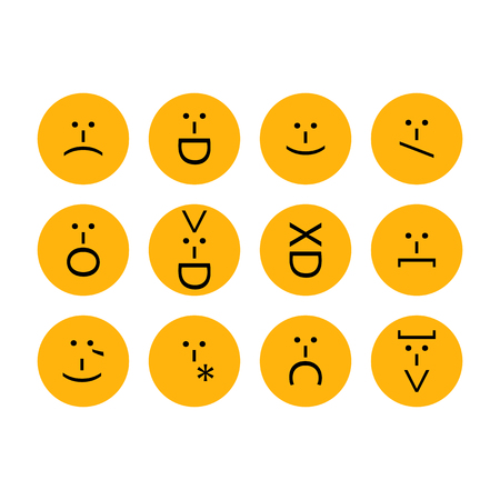 Set of emoticons, emoji of punctuation. Characters isolated.