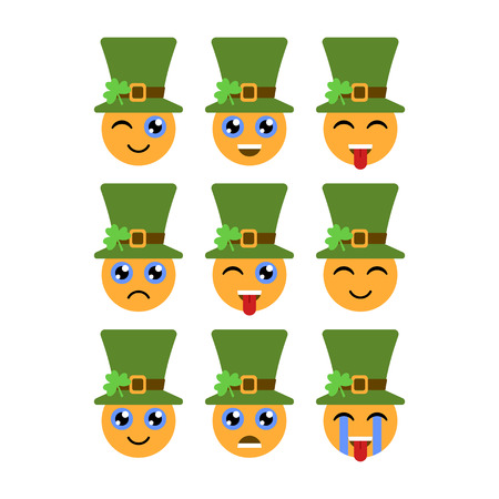 Leprechauns. Emoticons or emojis. Characters for St. Patricks day. Vector illustration Illustration