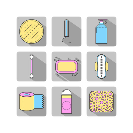 Feminine hygiene icons Set
