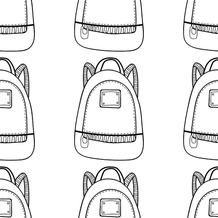 Fashionable back pack. Black and white seamless pattern of bags for coloring book.