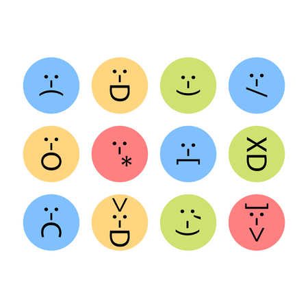 Set of emoticons, emoji of punctuation, characters isolated vector.