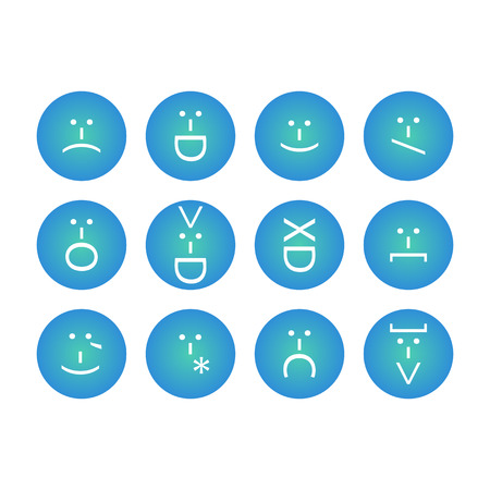 Set of emoticons, emoji of punctuation. Characters isolated. Vector illustration Illustration