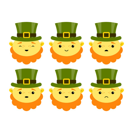 Leprechauns Characters for St. Patricks day. Vector illustration.